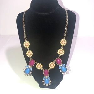 Colorful bling flowers statement necklace